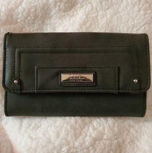 Nicole Miller New York Dark Grey Suede Wallet
